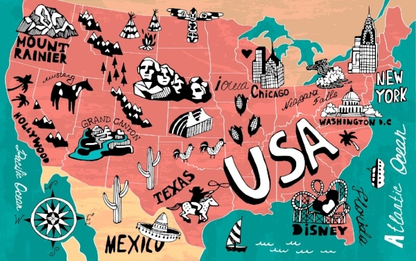 Map of attractions in the US